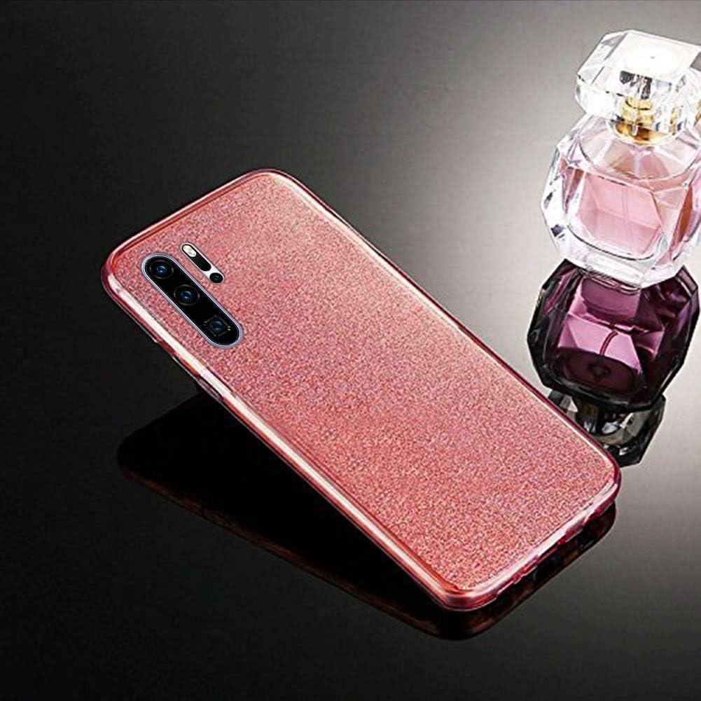 Surakey kompatibel mit Huawei P30 Pro H/ülle,360 Grad H/ülle f/ür Huawei P30 Pro Bling Gl/änzend Glitzer Vorne und Hinten Transparent TPU Bumper Ultra D/ünn Weiche Silikon Schutzh/ülle Case,Schwarz