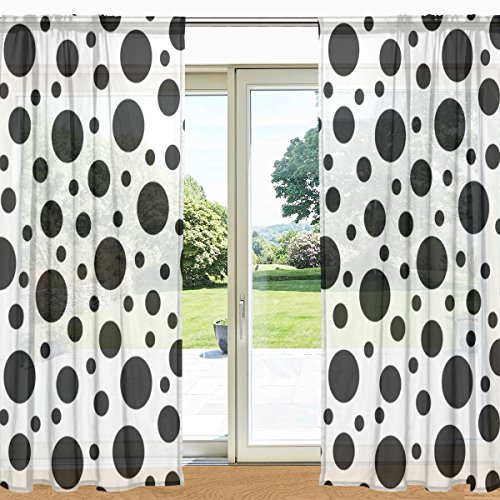 My Daily Funny Black And White Polka Dot Printed Sheer Window and Door Curtain 2 Panels 55