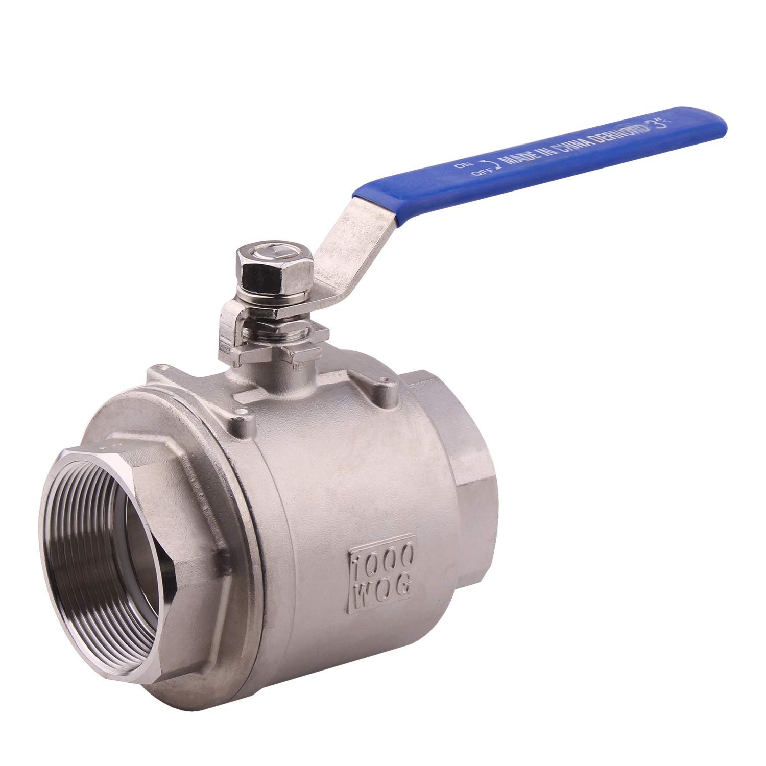 DERNORD Full Port Ball Valve Stainless Steel 304 Heavy Duty for Water, Oil, and Gas with Blue Locking Handles (3'' NPT)
