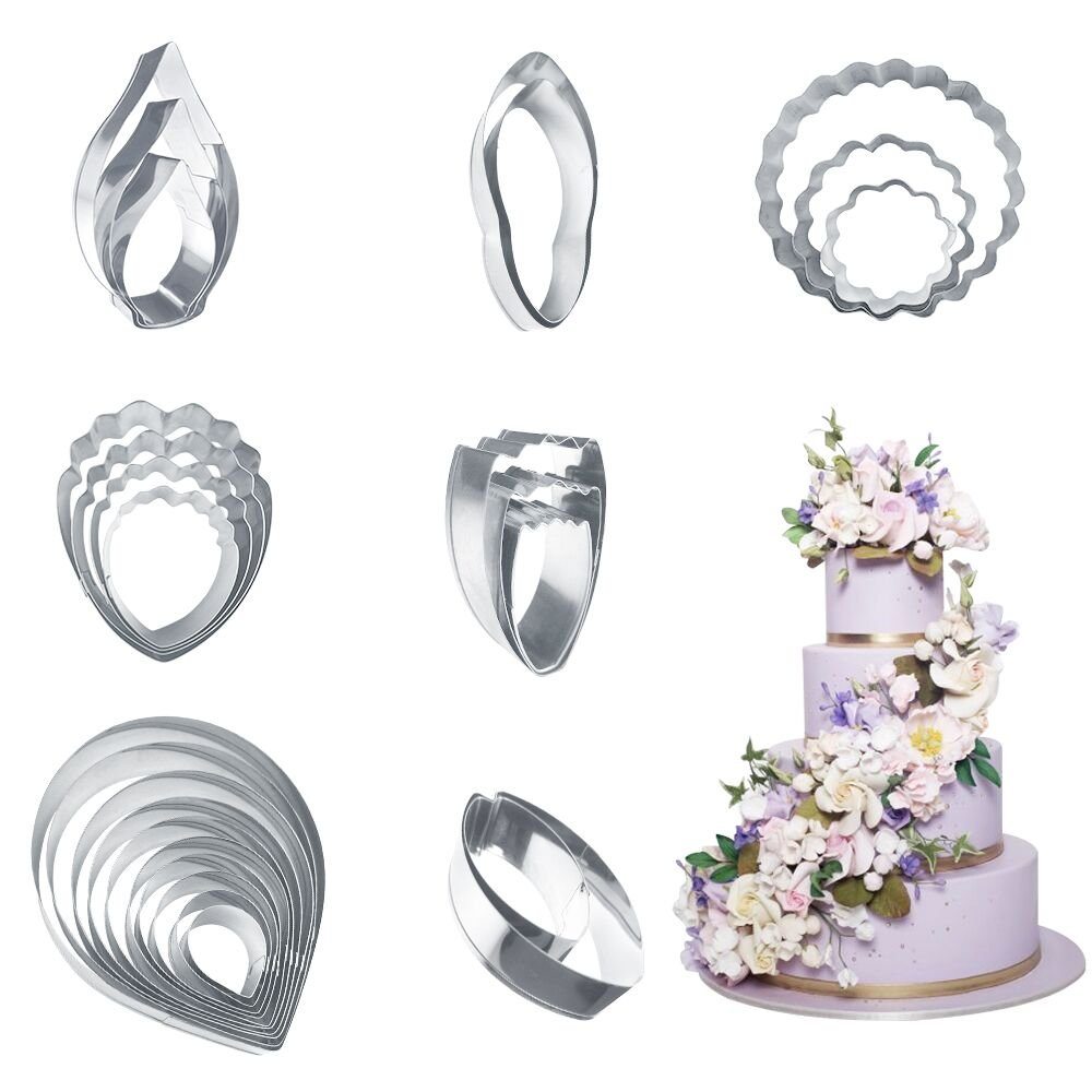 27pcs Stainless Steel Gumpaste Flower Cutter Set Metal Petal Leaf Cookie Cutter Set Fondant Flower Making Cutter for Wedding Flower Cake Decorating by Petlehouse