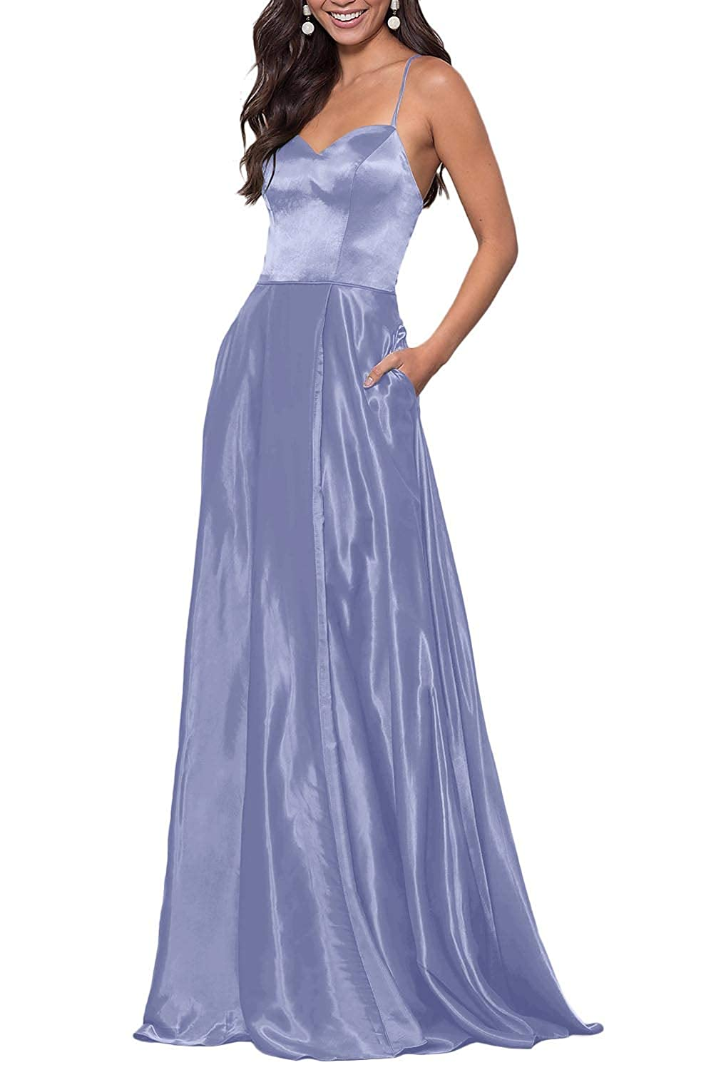 Lavender YUSHENGSM Women's Sweetheart CorsetBack Satin Prom Dress Long Evening Party Gown Pockets