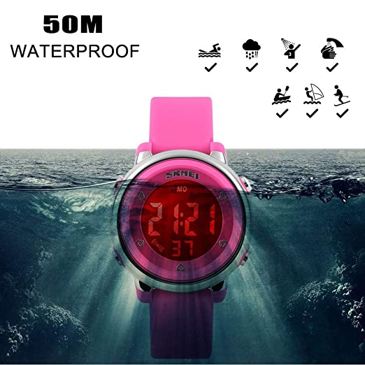 Amazon.com: FEIWEN Girls Digital Outdoor Sports Waterproof Watch for Children 7 Multicolor LED Backlight 5ATM Water Resistant Plastic Case with Rubber Band ...