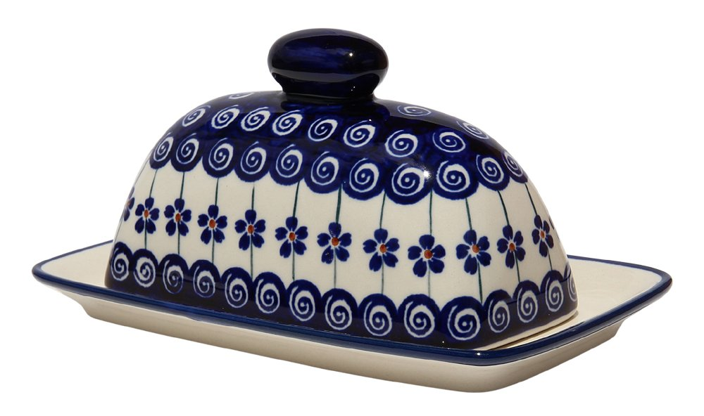 Polish Pottery Butter Dish 4'' X 7'' From Zaklady Ceramiczne Boleslawiec 1377-1085a Traditional Pattern