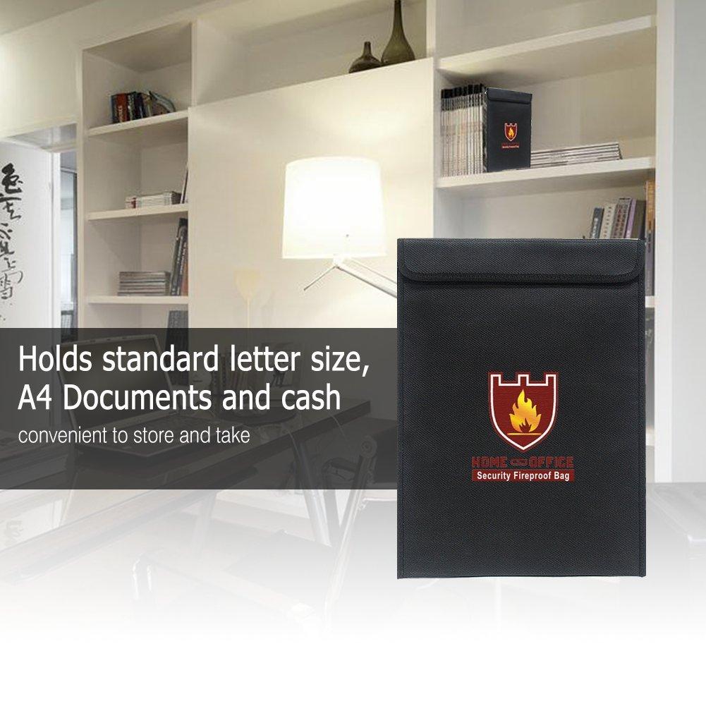 Il pi/ù efficace Premium Fire /& Water Resistant Safe Storage Bag/ perfetto per denaro//passaporto//documenti Giuridici protezione nero rivestimento in silicone /zipper Enclosure Ignifugo documento bag 38,1/x 27,9/cm