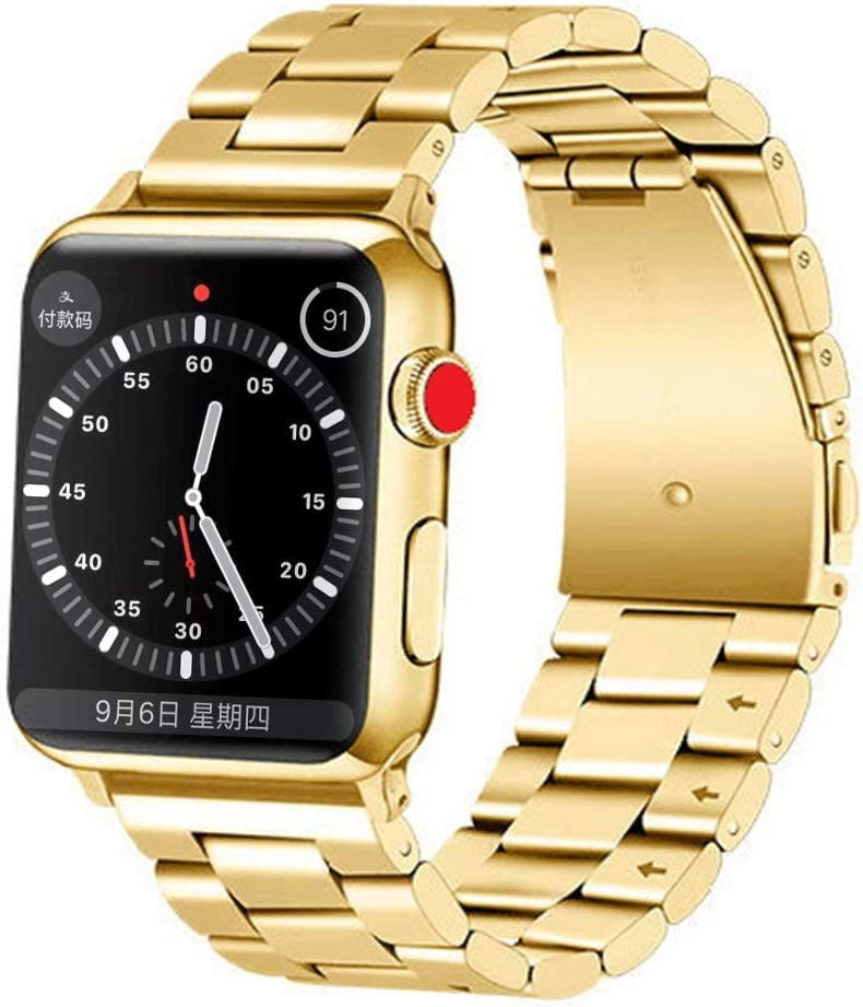 LINKWOW Compatible with Apple Watch Band Gold 38mm 40mm 42mm 44mm Series 5/4/3/2/1 Premium Metal Stainless Steel Replacement Strap Men and Women Solid Business Wristband Bracelet