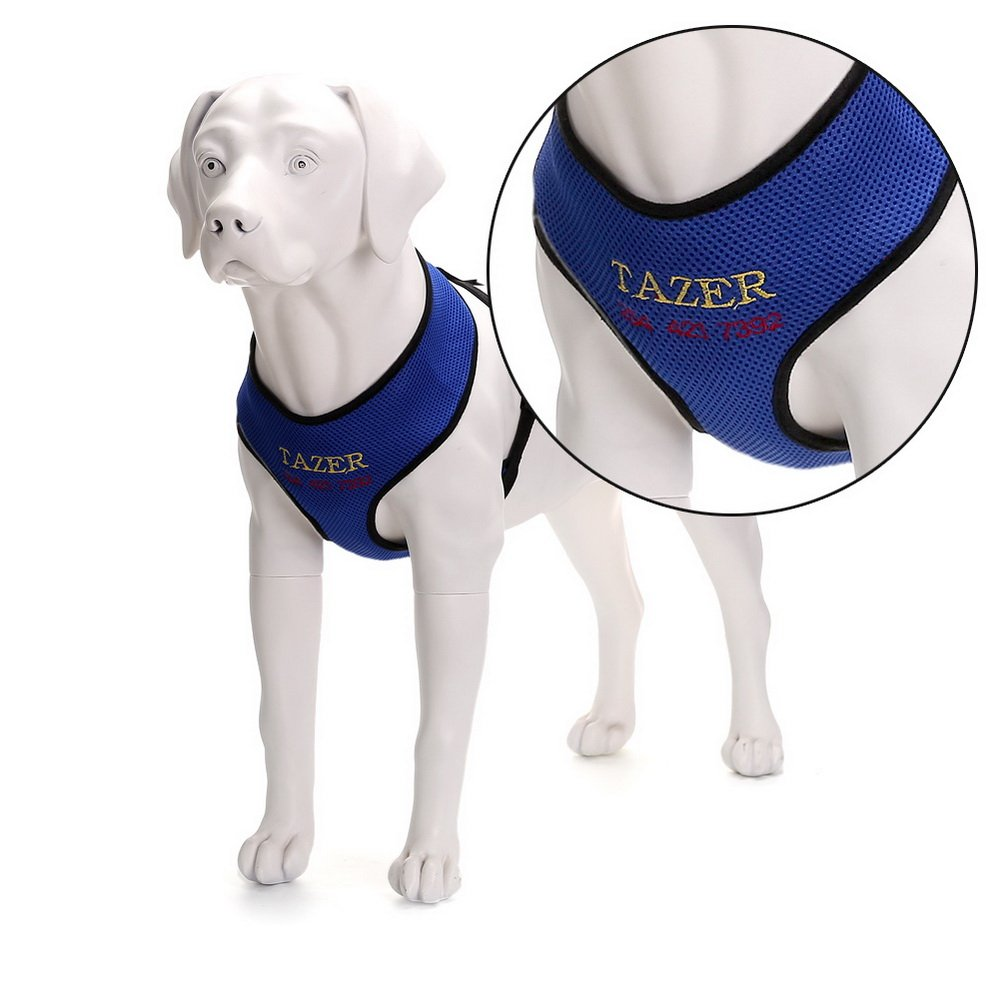 SELMAI Personalized Custom Dog Harness Soft Mesh Padded Collar Vest for Small Medium Dogs Cat,Custom Embroidery Name & Phone Number Blue Size M