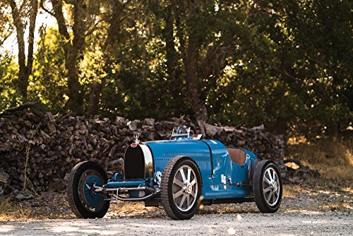 Car 1927 - Bugatti Type 35C (1927) Car Print on 10 Mil Archival Satin Paper Blue Front Side Static View 16