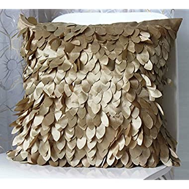 CheckMineOut 18inch Gold Fluffy Leaf Feather Decorative Cushion Covers Throw Pillow Case Wedding Christmas Gift Home Decoration