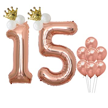 Number 15 Balloons Rose Gold