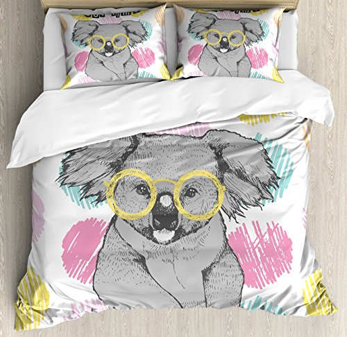 Koala Duvet Cover Set King Size by Lunarable, Hand Drawn Funny Hipster Australian Bear with Glasses on Colorful Dotted Backdrop, Decorative 3 Piece Bedding Set with 2 Pillow Shams, - Glasses Australian