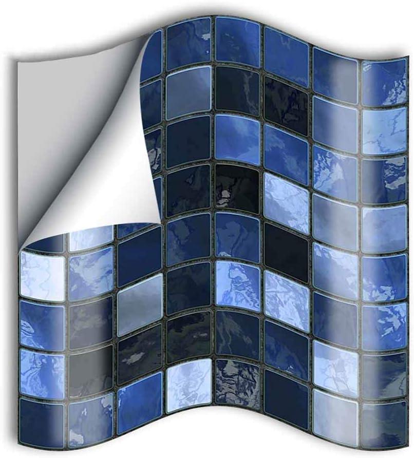 25 Pi/èces Style Mosa/ïque imperm/éables Auto-adh/ésifs D/écoration Hiser Adh/ésive D/écorative /à Carreaux pour Salle de Bains et Cuisine Stickers Carrelage Mosa/ïque Bleue,10x10cm