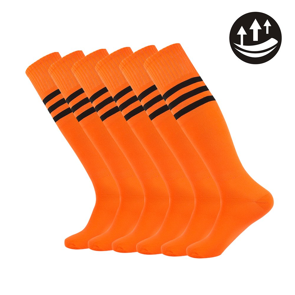 Dodove Unisex Knee High Soccer Football Sport Tube Tripe Stripe Socks, 2-10 Pairs (6 Pairs-orange and Black Striped)