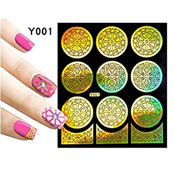 gold enssy 3 functions nail stickers decal model stempe gradient