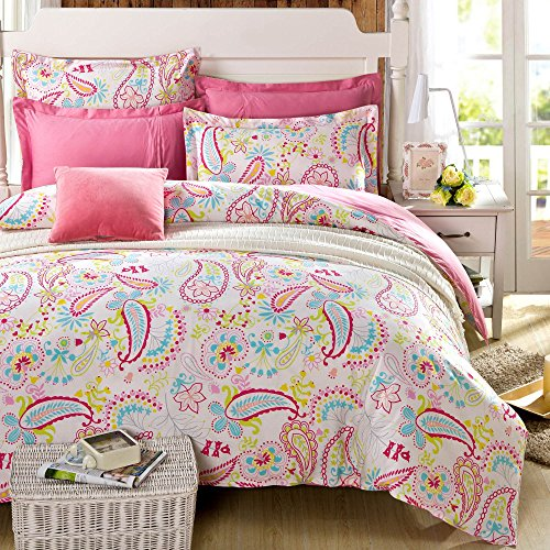 Cliab Paisley Bedding Pink Full for Teen Girls Duvet Cover Set 100% Cotton 5 Pieces (Fitted sheet included)