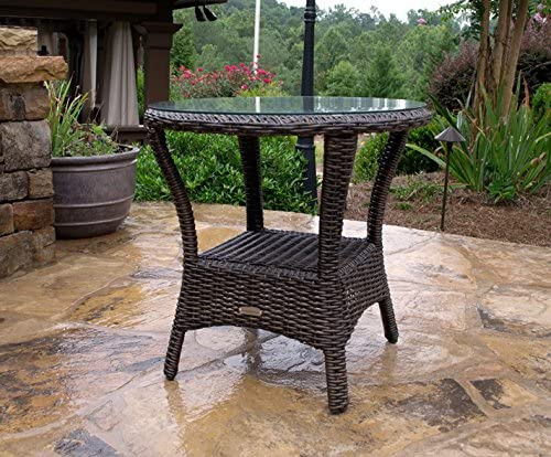 Tortuga Outdoor Bayview Wicker Side Table Brown Pecan