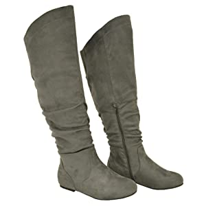 Twisted Women's Shelly Wide Calf Faux Suede Knee-High Slouchy Boot - GREY , Size 11