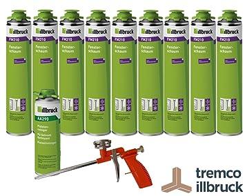 Juego de 9 x illbruck FM 210 Ventana Espuma como conjunto con limpiador + pistola estándar: Amazon.es: Bricolaje y herramientas