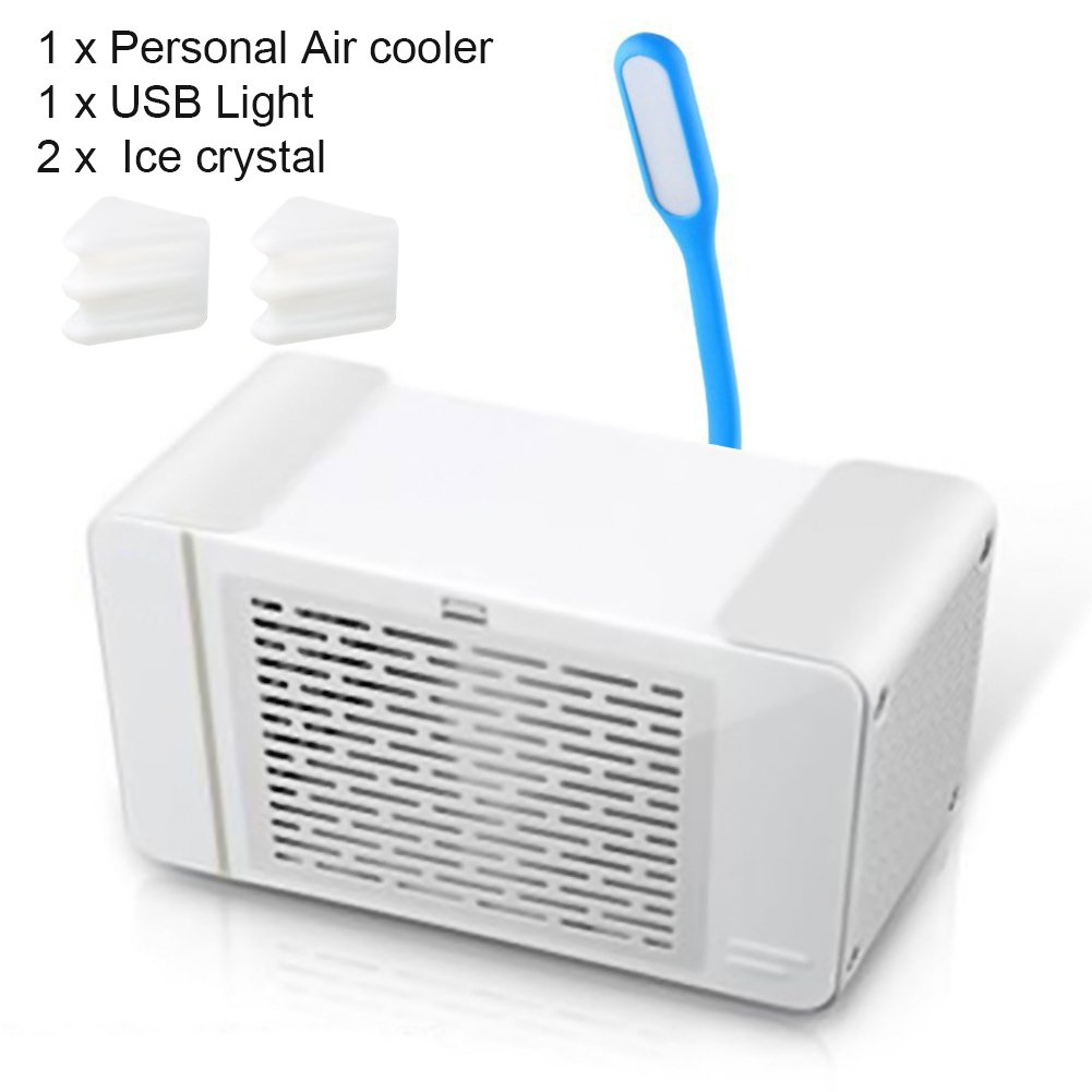 cyclamen9 Air Cooler, Personal Space Air Conditioner USB Portable Mini Air Cooler & Purifier USB Light Cable,2 x Ice Crystal,Ideal Home Office Bedroom School(White)