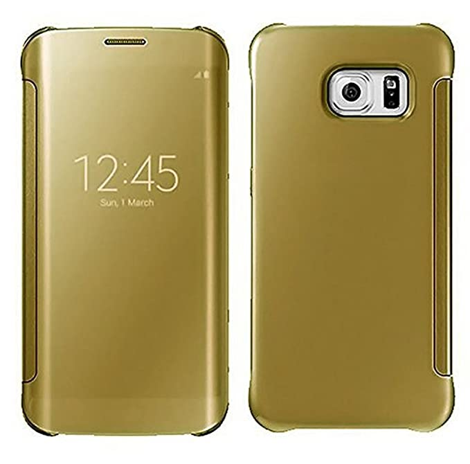 ITbEST Clear View Mirror Smart View Case Flip Cover For Samsung Galaxy S7 Edge    Golden  Cases   Covers