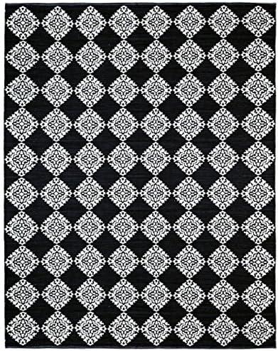 Jacquard Medallion Cotton Rug, Black, 8-Feet by 10-Feet