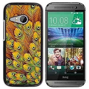 FECELL CITY // Duro Aluminio Pegatina PC Caso decorativo Funda Carcasa de Protección para HTC ONE MINI 2 / M8 MINI // Yellow Feathers Vibrant Bird Africa