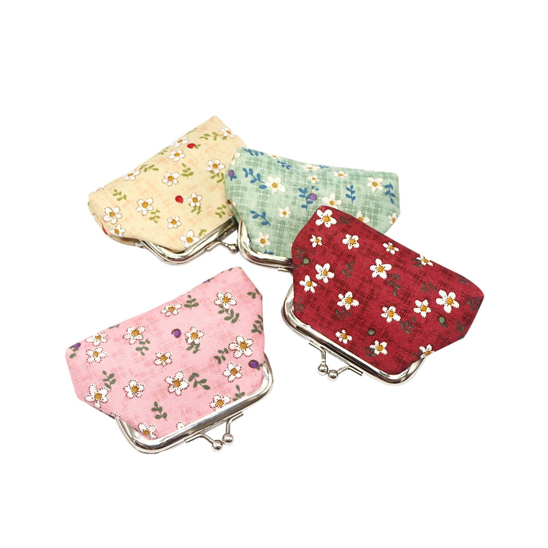 Oyachic 4 Pack Kisslock Coin Purse PU Change Pouch Mini Wallet with Clasp Closure Cute Animal Pattern Gifts for Women Girls (Alpaca and cactus) CC-C60042-CN