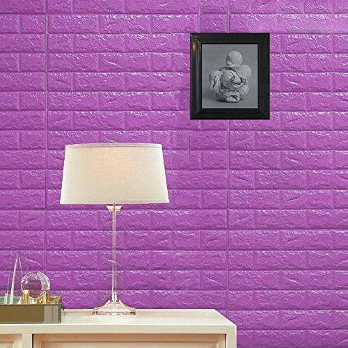 Efavormart 10 PCS 58 Sq.Ft Purple Self-Adhesive Wall Panels 3D Faux Waterproof Foam Bricks Peel and Stick Foam Wall Home Decor