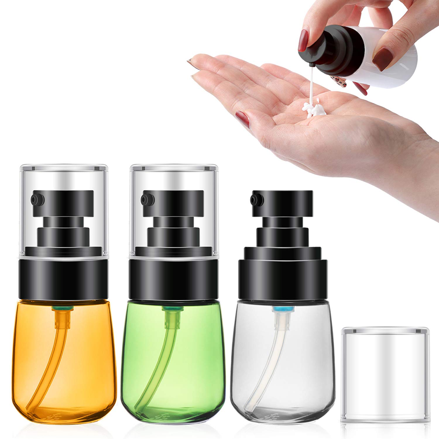Segbeauty Travel Lotion Pump Bottle, 3pcs Dispenser Bottles Set for Essence Shampoo Conditioner 30ml 1oz Empty Refillable Pressed Pump Bottle Cosmetic Containers