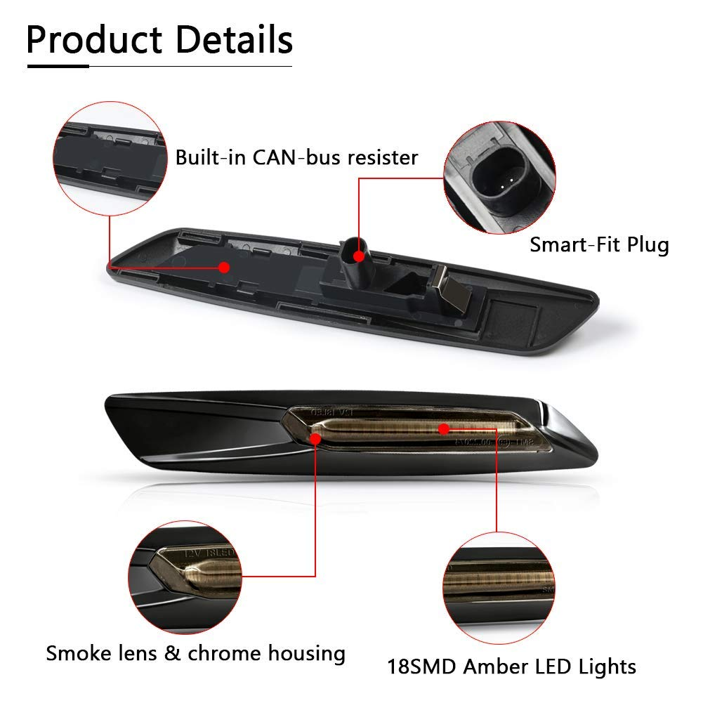GemPro 2Pcs Sequential Amber LED Side Marker Turn Signal Light for BMW 1 3 5 Series E81 E82 E87 E88 E90 E91 E92 E93 E60 E61 F10 Replace OEM Side Marker Light
