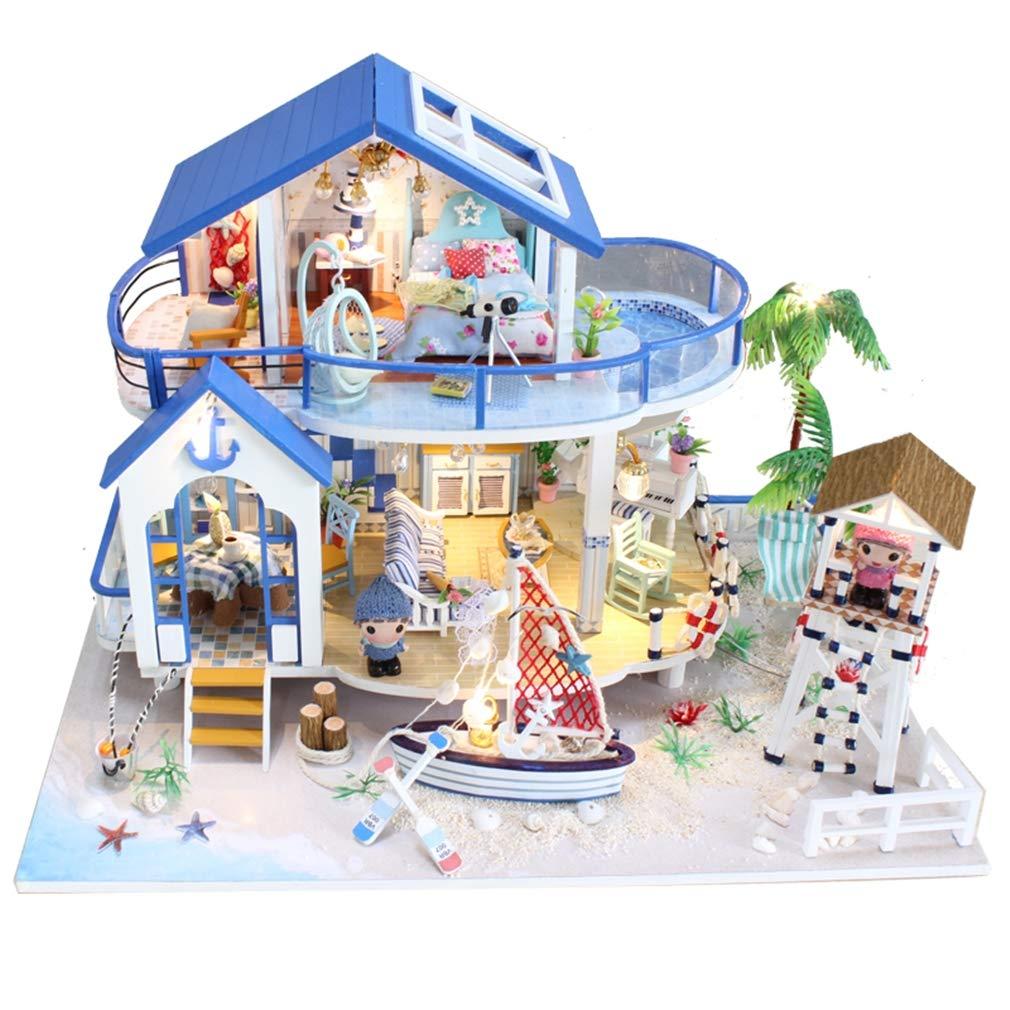 LSQR 3D Assemble Holzhaus Miniaturas mit Möbeln DIY Miniature House Dollhouse Spielzeug für Kinder Weißnachten und Geburtstagsgeschenk Natural