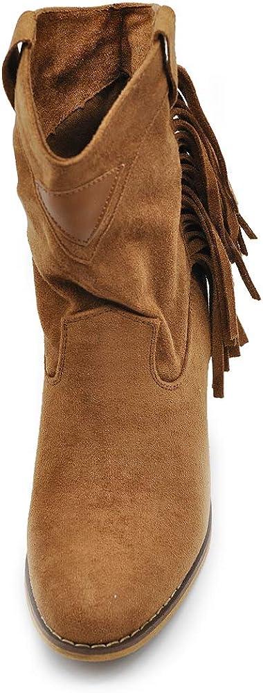Texani Cowboy Western Scarpe da Donna Stivali Stivaletti Frange Camperos Etnici 625 19826 Camel