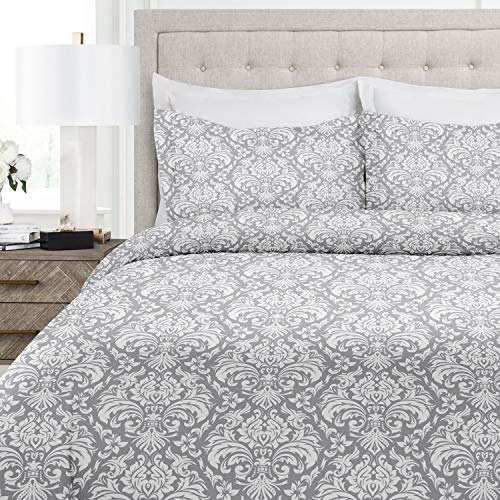 Italian Luxury Damask Pattern Duvet Cover Set - 3-Piece Ultra Soft Double Brushed Microfiber Printed Cover with Shams - Full/Queen - Light Gray/White ()