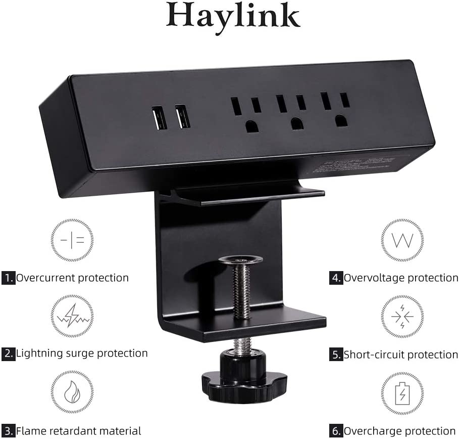 Haylink UL Approval Clamp on Desktop Sockets Power 2 Port USB Charger 3 Outlet Strip 6ft Cord Home Office Reading Public Area Table Mount Multi-Outlets Aluminum Surge Protector Desk Strip (Black)