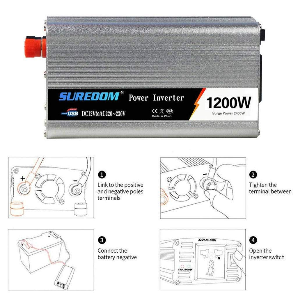 1200W Power Inverter// 12V DC to 110-220V AC with Remote Control USB Port for RV Laptop CPAP /& Emergency-Silver