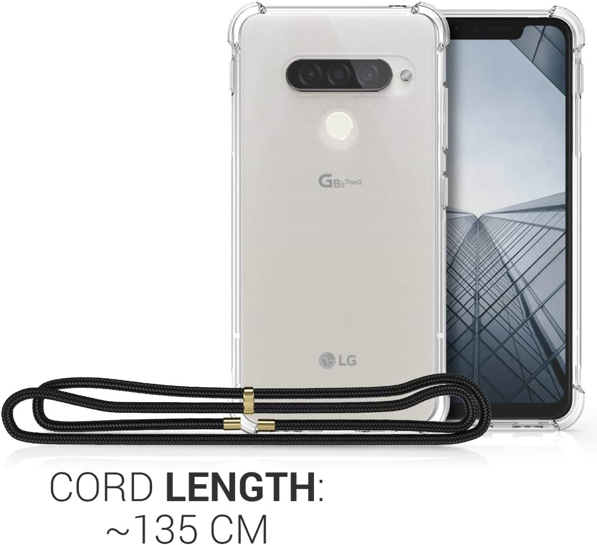 Clear Transparent TPU Cell Phone Cover with Neck Cord Lanyard Strap kwmobile Crossbody Case Compatible with LG G8s ThinQ Transparent
