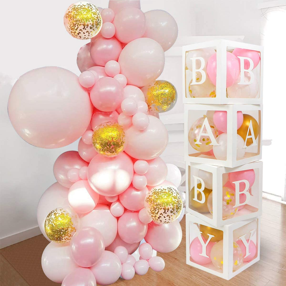Baby Shower Decorations for Girl - 52pcs Jumbo Transparent Baby Block Balloon Box Includes White, Pastel Pink, Gold and Confetti Balloons | Perfect for Gender Reveal Decor, 1st Birthday Party, Newborn Photos, Baptisms, Pregnancy Announcements