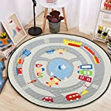 Round Kids' Room Rug,Lego Toys Storage Organizer Play Bag,Cotton Anti-slip Cartoon Animal Children's Floor Play Game Mat with Drawstring for Kids Room, 59x59 Inch (Car)