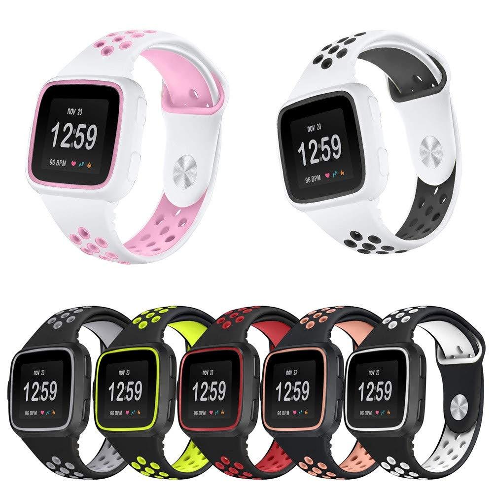 yuemizi Replacement Watch Band Bracelet Soft Silicone Sport Strap+Frame For Fitbit Versa (White) by yuemizi (Image #4)