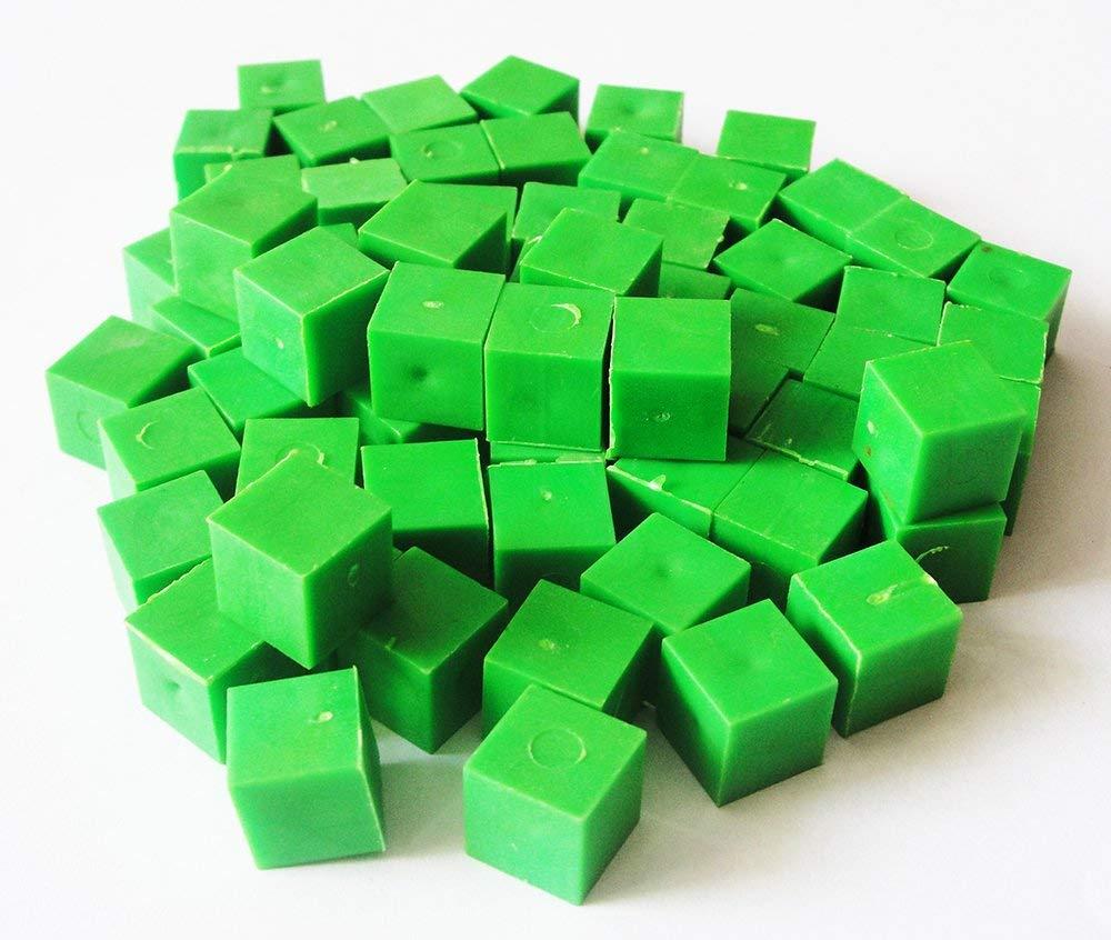 Base Ten Blocks (131 Pcs.) Plastic set in 4 different colors, Dience Block set- Starter Kit