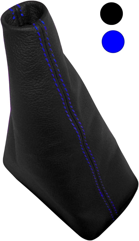 Funda para palanca de cambios 100/% PIEL GENUINA negro con costuras azul AERZETIX