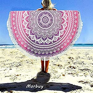 Morbuy Toalla de Playa Redonda, Estilo Mandala Indio Decoración, La Playa Tapiz de Pared Manta Yoga Picnic Mantel Tassel… | DeHippies.com