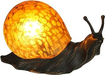 Zeckos Amber Glass Art Shell Metal Snail Figurine Accent Lamp