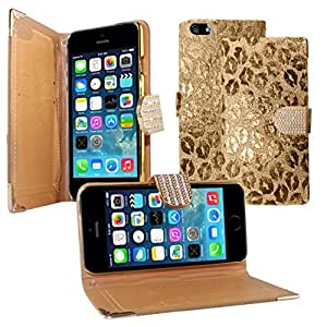 Zizo Horizontal Exclusive Diamond Flap Pouch with Credit Card Pockets for iPhone 5/5s - Retail Packaging - Golden