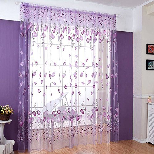 Curtain – SODIAL(R) Tulip Flower tulle bottom Curtain Purple