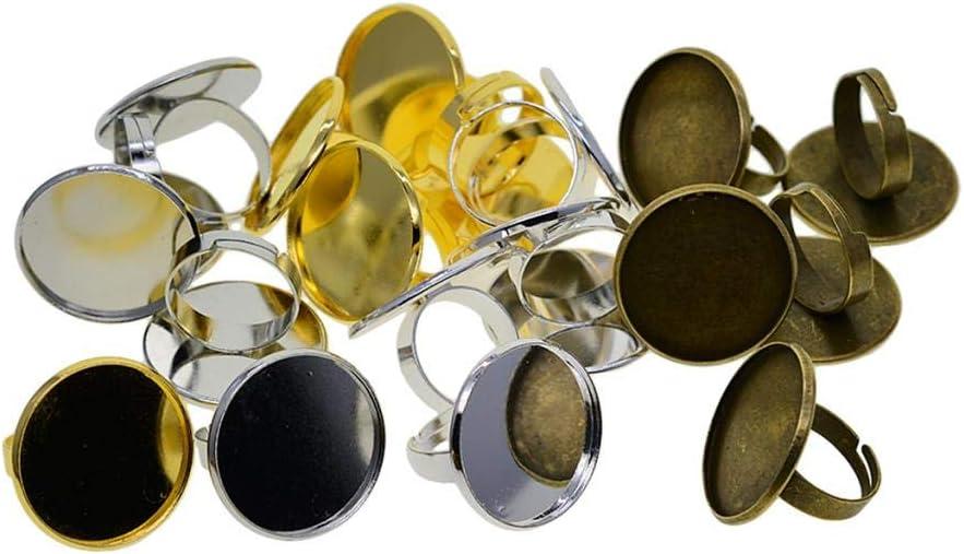 Sharplace 20 Piezas De Anillo Ajustable De Metal En Blanco para Anillos De Cabujón De Diamantes De Piedras Preciosas De Bricolaje