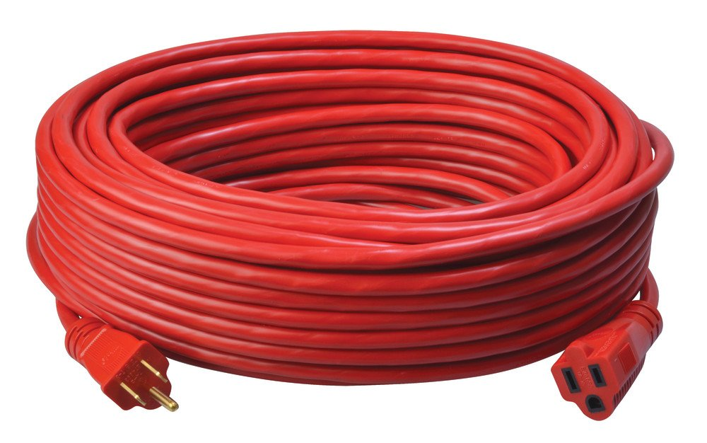 Coleman Cable 02408 14/3 SJTW Vinyl Outdoor Extension Cord, 50', Red 50' 24088804