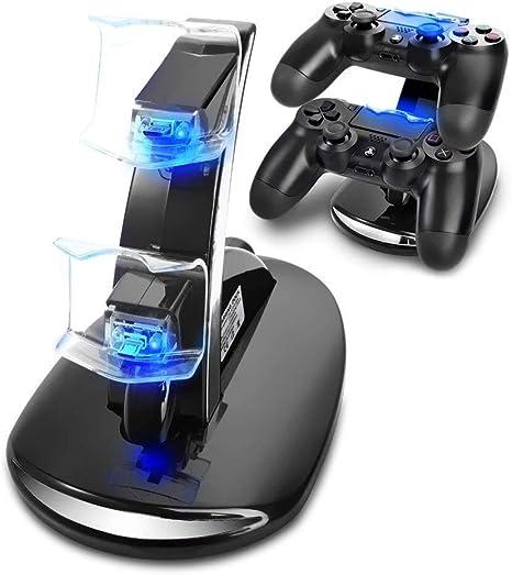 KONKY PS4 Cargador, Cargador Mandos PS4 Dualshock PS4 Estación de carga USB Base de carga para Sony Playstation 4/PS4/PS4 Pro/PS4 Slim Mando Inalámbrico Gamepad con Indicador del LED: Amazon.es: Videojuegos