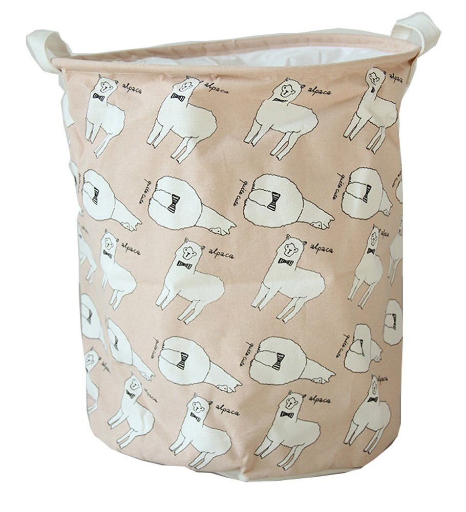 XIANIWTA Cartoon Foldable Cotton Cute Animal Cat Bear Alpaca Print Laundry Bins Hamper 35 x 45cm Basket Toys Storage with Handles (Alpaca-pink)