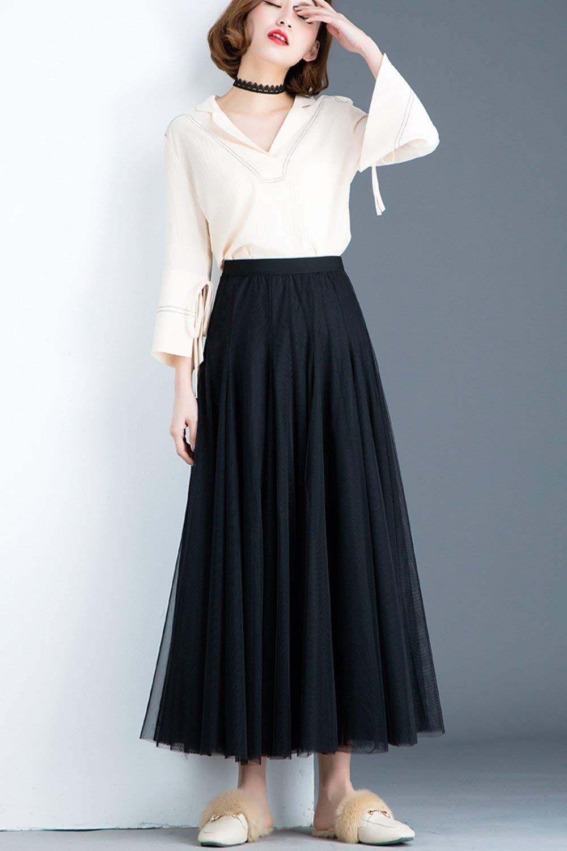 51c057ea9831c Amazon.com: Free Shipping-Women's Tulle Maxi Skirt Black: Handmade