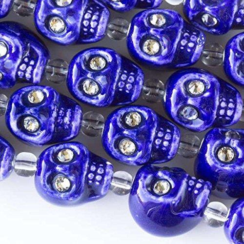 - Cherry Blossom Beads Ceramic 13mm Cobalt Blue Skull Beads with Crystal Eyes - 4 Inch Strand